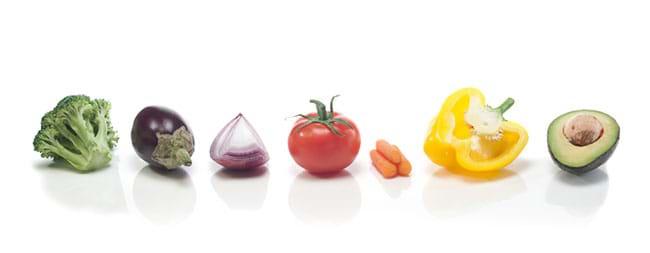 line up of veggies