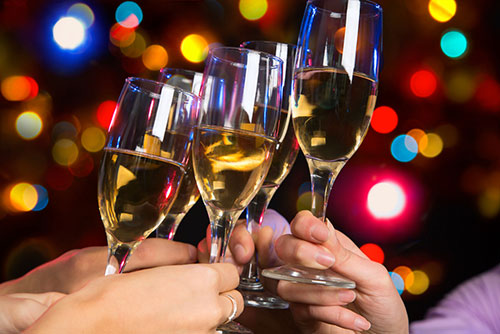 holiday champagne toast