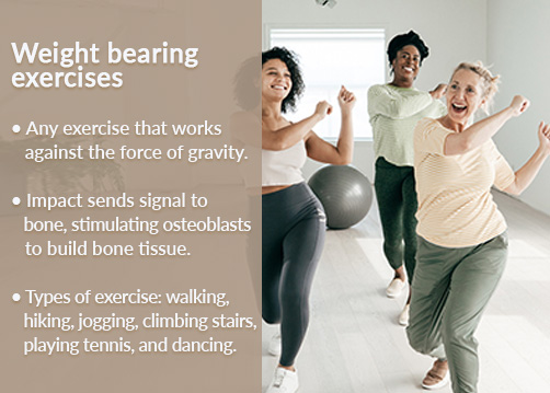 Exercises for women's bone health include group dance classes.