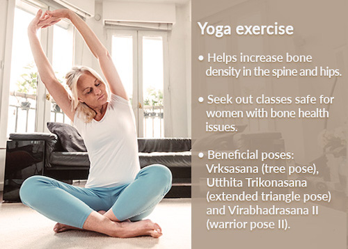 Weight bearing exercises for women's bone health includes yoga.