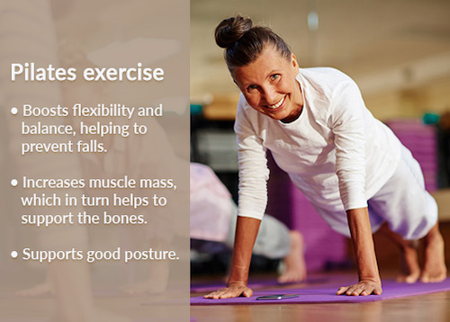 Effective exercises for women's bone health includes pilates.