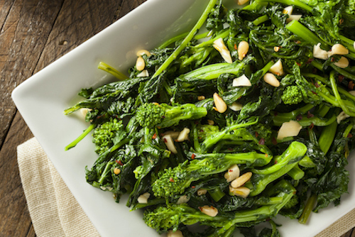 Foods to strengthen bones include broccoli and broccoli rabe.