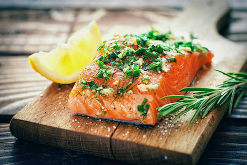 Baked salmon as nutrition for bone health.